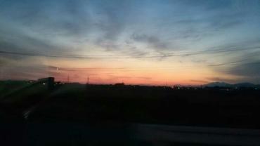 筑後平野の夕陽